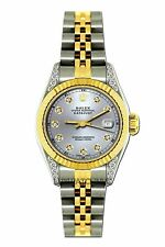 LADIES 26MM ROLEX WATCH 18K GOLD SS DIAMOND CASE WATCH WITH SILVER CHAMPAGNE