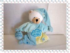 U - Doudou Marionnette Ours Bleu Jaune Un Rêve de Bébé Poudre à dormir Baby Nat'