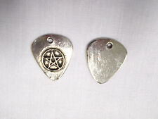 METAL GUITAR PICK & PENTAGRAM STAR ONE PIECE PENTACLE PEWTER PENDANT NECKLACE