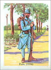 IMAGE CARD Uniforme Bleu Horizon Poilus 1916 WWI Casque Adrian Uniform 60s