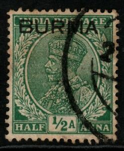 BURMA SG3 1937 ½a GREEN USED