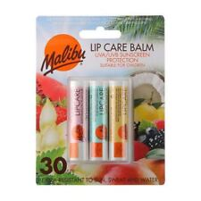 Malibu Lip Care Balm Uva/uvb Sunscreen Protection Spf30 3pk