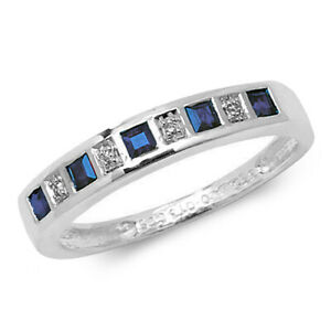 9CT GOLD SAPPHIRE RING DIAMOND PRINCESS ETERNITY SIZE M 1/2 9 CARAT WHITE GOLD