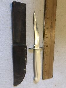 VINTAGE CAMCO FIXED BLADE KNIFE USA CAP LIFTER CAN OPENER LEATHER SHEATH SIGNED