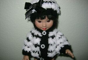 """Hand Knit Clothes Black White Fluffy Sweater fits 10"""" Ann Estelle Tonner Doll"""
