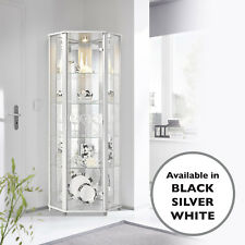 HOME Glass Display Cabinet Corner White 4 Shelves Mirror & Light