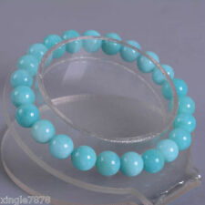 """1PCS 8mm Fashion Brazilian amazonite round gemstone stretchable bracelet 7.5""""AAA"""