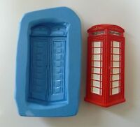 7cm BRITISH RED PHONE BOX SILICONE MOULD FOR CAKE TOPPERS, CHOCOLATE, CLAY ETC