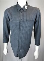 Mens Hugo Boss Orange Collection XL 100% Cotton Green Shirt w/ Blue Cross Hatch