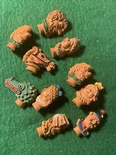 Antique Clay/Polymer Jewelry Pins Assorted Styles Lot Of 10 Handpainted 1 1/4 In