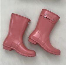 Brand New Hunter Women's Original Short Rain Boot Glossy Pink US Size 6, Euro 37