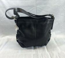 Coach Duffle Black With Silver Hardware Blue Lining - Leather Bag Shoulder Purse