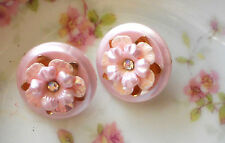 Coro Earrings vintage Rhinestone unique Clip On Signed Shabby Flower Pink #1335X