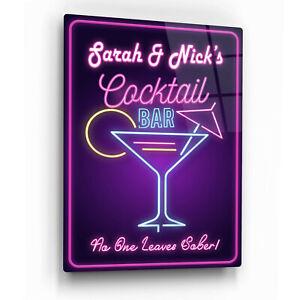 Personalised Cocktail Bar Sign. Neon Retro Vintage Print on Gloss Metal Wall Art