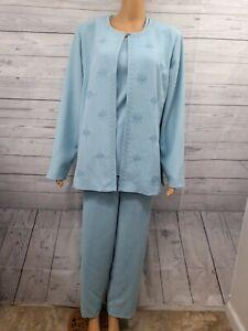 Nancy Bolen City Girl Womens 3 Pc Suit Set Sz 18 Pants Jacket TopTeal Blue