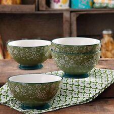 "Pioneer Woman Dinnerware Bandana 6"" Ceramic Footed Serving Bowl Set of 4"