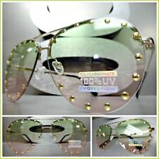 Classy Vintage Retro Style SUNGLASSES Gold Studded Frame Green & Pink Ombre Lens