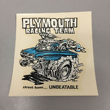 Collectible Vintage Rat Fink Ed Roth Plymouth Racing Water Slide Decal