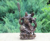 Chinese Copper Bronze Guan Gong Guan Yu Warrior God Sword Stand in Dragon Statue