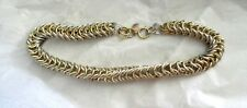 "Les Bernard Gold Silver 2 Tone Chunky Chain Choker 17"" Necklace With Tag"