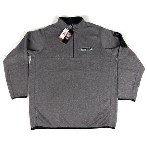 Seattle Seahawks NFL Antigua Mens XL Gray Black 1/2 Zip Pullover Jacket Sweater