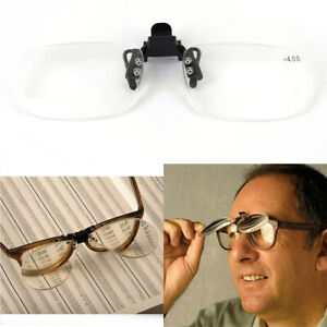 Clip On Flip Up Magnifying Reading Glasses Magnifiers Lenses x2.0 x3.0 x4.0