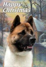 Akita Dog A6 Christmas Card Design Xakita-3 by Paws2print