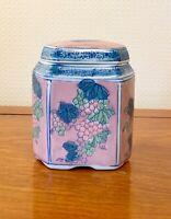 VINTAGE TEA CADDY  PORCELAIN BLUE PINK  CHINESE STORAGE JAR 6 INS TALL