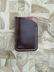 Hand-stitched Horween Shell Cordovan Marbled Color #8 burgundy Wallet Cardholder