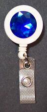 Blue RHINESTONE Retractable Reel ID Badge Card Holder/Key chain ring White