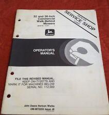"John Deere 32"" 36"" Commercial Walk Behind Mower (Ser# 112,001-) Operators Manual"