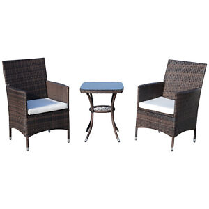 Outsunny 3pcs Patio Rattan Furniture Garden Wicker Bistro Set All Weather