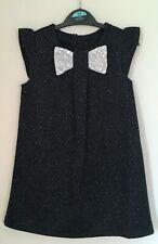 New Ex George Girls Dark Navy Blue Sparkle Dress Party Age 18/24M & 2-6Y