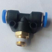 """Pneumatic 4 mm Tube x 1/8"""" BSP Thread Male Tee Branch Connector Push In Fitting"""