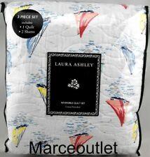 New listing Laura Ashley Home Ahoy Reversible King Quilt & Pillowshams Set Blue Multi