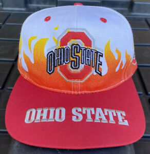 NWOT Vintage 90s Ohio State Buckeyes Front Row On Fire Flame SnapBack Hat Cap