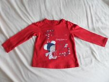 TU Girls Red Long Sleeve Little Mouse 100% Cotton Tops Size 9-12 Months