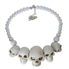 KREEPSVILLE 666 SKULL COLLECTION WHITE NECKLACE PUNK GOTH HALLOWEEN HORROR CHARM