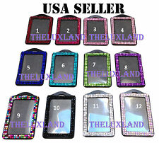 Rhinestone Bling Bling Crystal Vertical ID Badge Holder - Lanyard NOT included