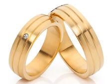 2 Diamond Wedding Engagement Partnership Rings 18 carat gold plated &