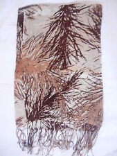 New Leaves Design Shwal Scarf Wrap Brown 170cm x 68cm