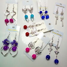 wholesale lots mixed 30pairs pearl beads lady's silver butterfly dangle earrings