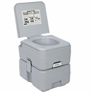 Portable Toilet 5.3 Gallon 20L Flush Travel Camping Outdoor Indoor Commode Potty