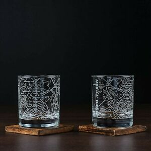 Penn State Whiskey Bourbon Glasses Tumblers Etched Glass Set Of 2 New