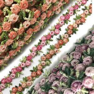 Rose Flower Lace Trim Embroidered Ribbon Wedding Dress Sewing DIY Handmade Decor