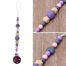 Purple Baby Teething Dummy Pacifier Clip Infant Soother Nipple Strap Chain Cute