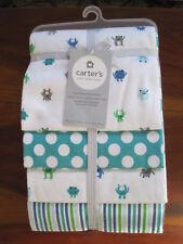 New NWT Carter Blue Green Monster 4 Pack Receiving Flannel Cotton Blanket Set