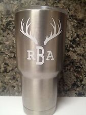Deer Antlers w/Initials Or Name Decal For your Yeti Rambler Tumbler Colster