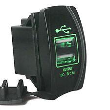 Green 12-24V 3.1A Motorcycle Car Dual USB Port Charger Socket Plug Waterproof