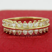 Real Solid 9k Yellow Gold Crown Engagement Wedding Dress Ring Simulated Diamonds